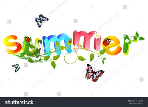 summer themes summer theme with floral over white background stock photo