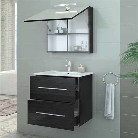 Bathroom Sink Base Cabinet Bathroom Furniture Set High Gloss Bathroom Mirror Sink Cabinet Base Led 60cm Ebay
