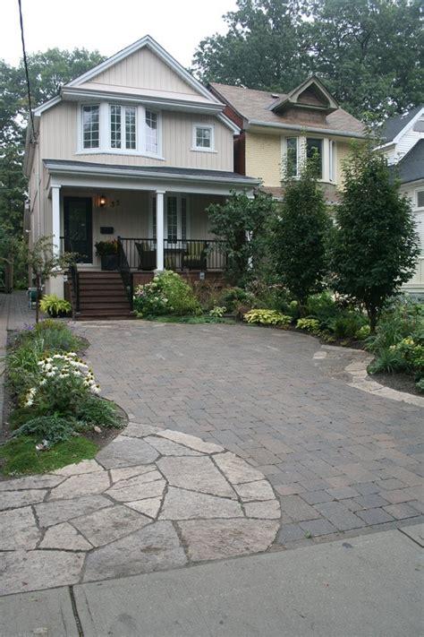 front yard parking pad random flagstone tumbled interlocking pavers planting yelp