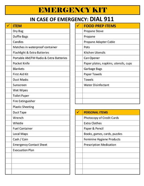 printable emergency sheet checklist also comes with an