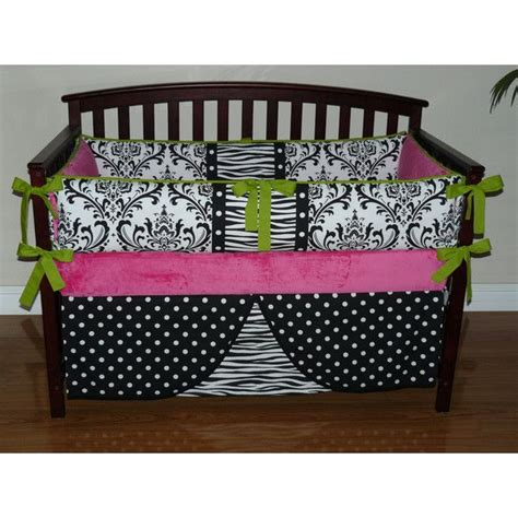 pink black white damask bedroom polyvore custom crib baby bedding 3 4pc set hot pink black and