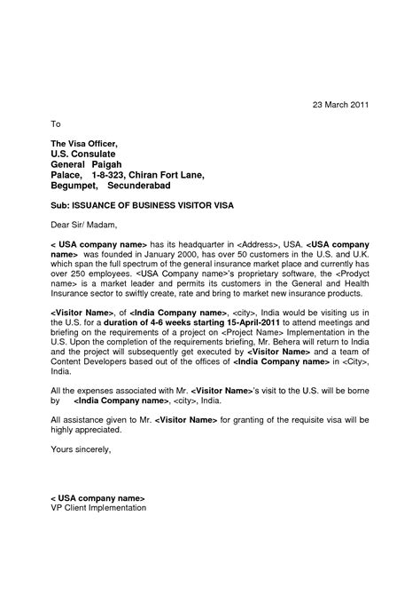 American Embassy Letter Of Invitation Invitation Letter To Consulate For Visitor Visa Invitation Librarry