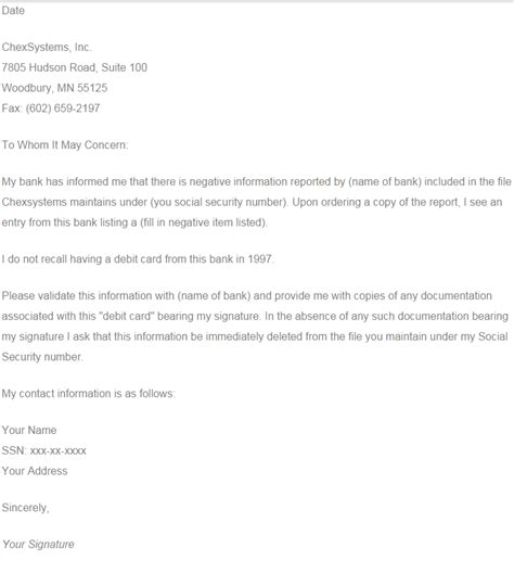 Dispute Letter To Chexsystems Sle Dispute Remove Chexsystems Wallet On