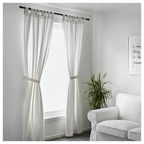 Ikea White Curtains Lenda Curtains With Tie Backs 1 Pair White 140x250 Cm Ikea