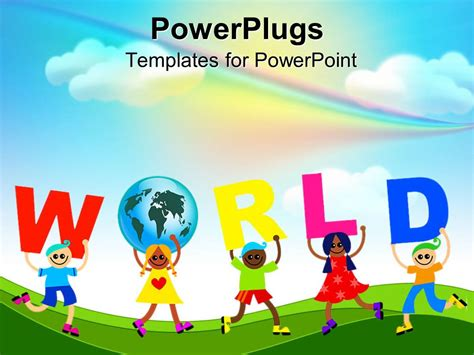 Powerpoint Template Diverse Kids Holds Letters To Spell World And One Holding A Globe Unity Powerpoint Templates For Children