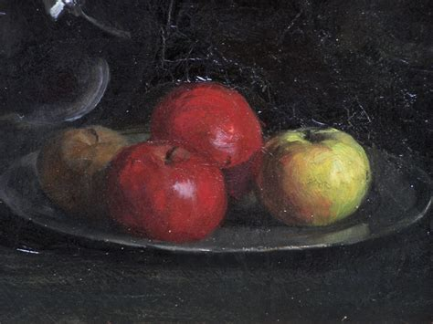 Glass Vase Painting 8196 Fannie Burr Still Life Oil Painting Of Apples On A