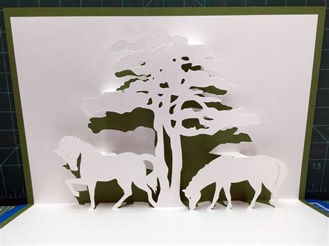 Two Horses With Tree Pop Up Card Template From Cahier De Kirigami 8 Nana Cards Pinterest Tree Pop Up Card Template 2