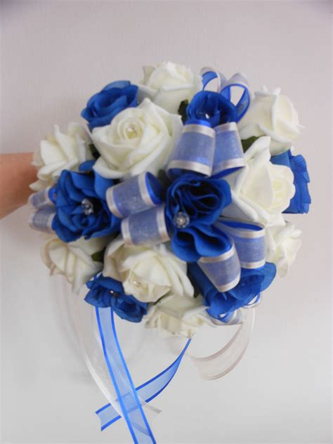 Wedding Bouquet Royal Blue by Bridesmaids Wedding Bouquet Royal Blue And Ivory Foam