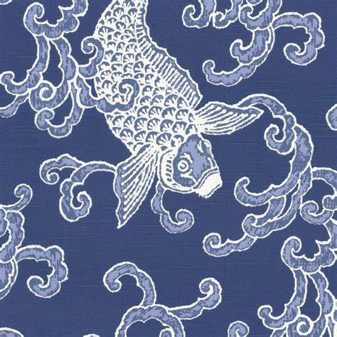 Fish Upholstery Fabric by Porcelain Blue Koi Fish Fabric Modern Drapery Fabric By Loom Decor
