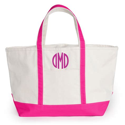 personalized boat tote bags personalized personalized large pink trimmed boat tote