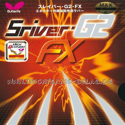 Butterfly Sriver Fx im test butterfly sriver g2 fx www tischtennis belag de