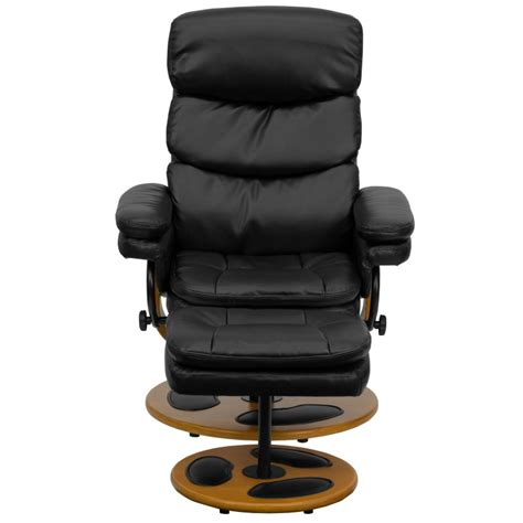 Modern Black Leather Recliner by Black Leather Recliner And Ottoman With Wood Base