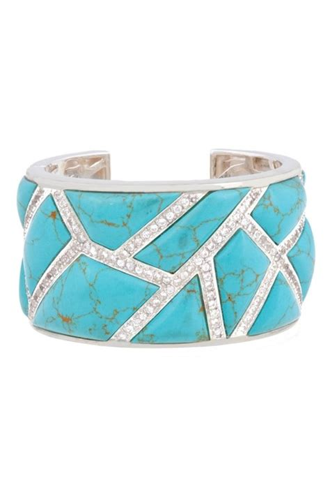 Lust Alert Gold And Cuff By Kara Ross by Kara Ross Wide Maze Cuff Sterling Silver With Turquoise