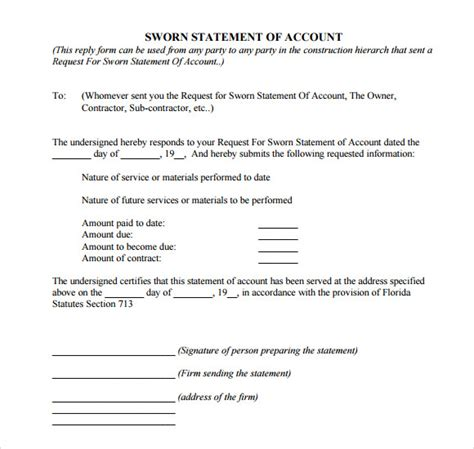 sworn statement template sle sworn statement 12 documents in word pdf