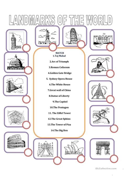 What In The World Worksheets by Landmarks Of The World Worksheet Free Esl Printable