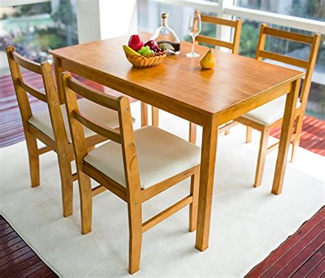 4 Person Dining Table Set Merax Soild Wood 5 Dining Sets 4 Person Dinning