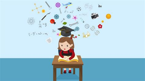 animation background layout from student to professional cartoon animation of a girl student is reading education