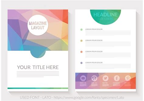 magazine design elements vector free abstract triangular magazine layout vector download