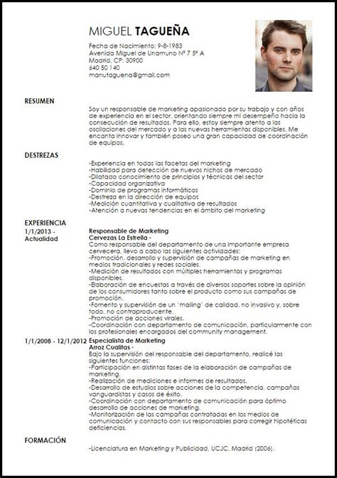 Modelo De Curriculum Vitae Para España Modelo Curriculum Vitae Responsable De Marketing Cv Marketing Y Plan De Estudios