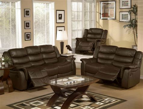 sofa and recliner chair set brown leather upholstered living room chair set with