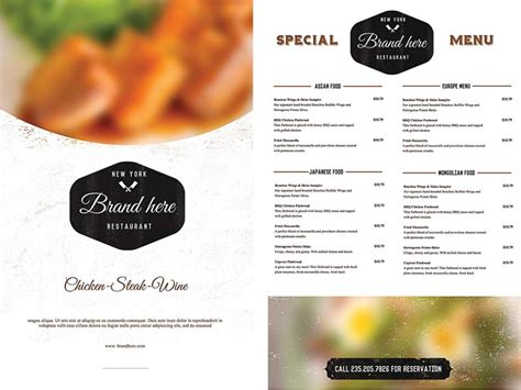 free food menu template vintage food menu template free