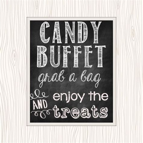 Chalkboard Candy Buffet Printable Sign Instant Download Sign For Buffet