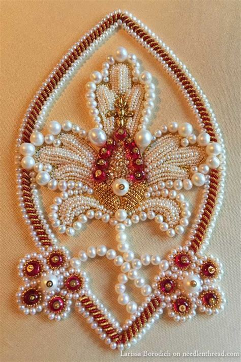 design for embroidery work stylized pomegranate in pearl goldwork embroidery