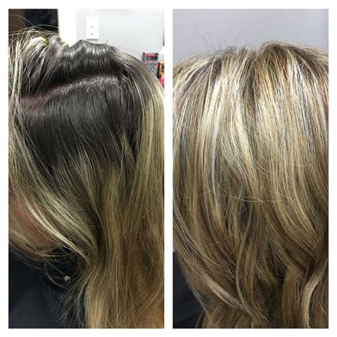foil hair colors with blondies before and after heavy full foil with blonde highlights