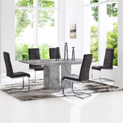 jupiter marble dining table in white and 6 metz