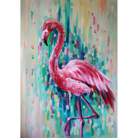 bird oil painting canvas wall art home decor living room high quality hand painted animal abstract flamingo bird