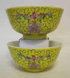 Yami Porcelain Cupping Bowl Yellow blue white rice pattern porcelain bowls dessert