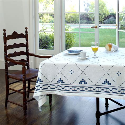 dining room tablecloths blue and white linen tablecloth by huddleson