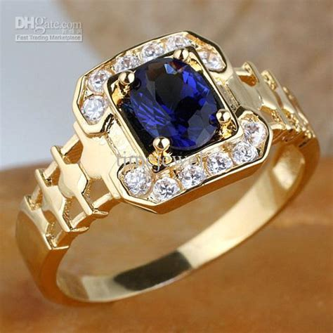 men ring blue sapphire   cz embed nice gift