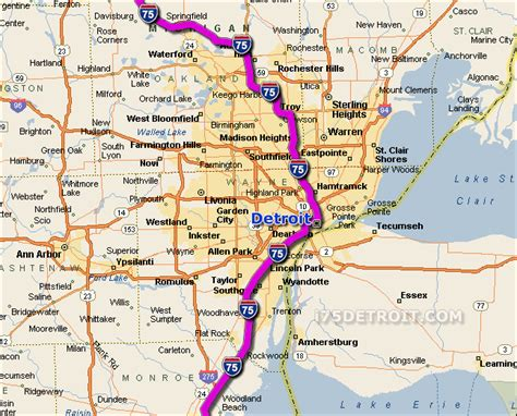 map of usa states detroit interstate 75 map