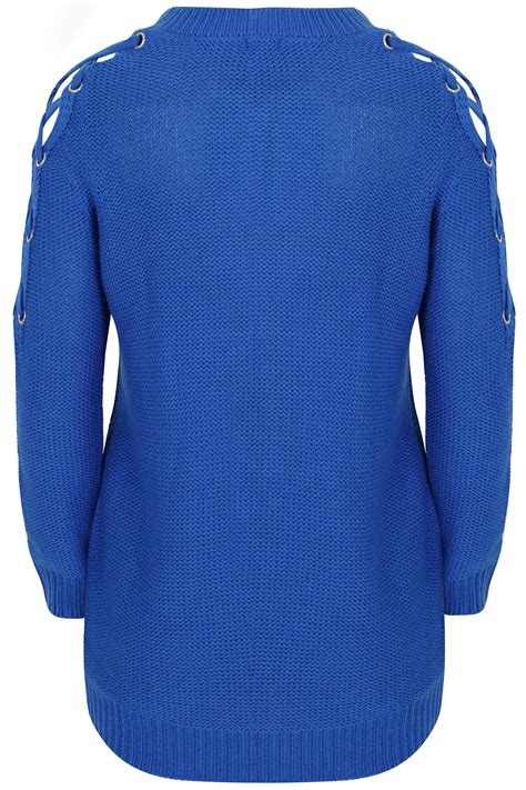 Card 727 Blue limited collection royal blue choker jumper with lace