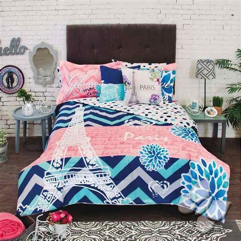 Paris Bedding Set Twin New Girls Teens Blue Coral Eiffel Tower Paris Comforter