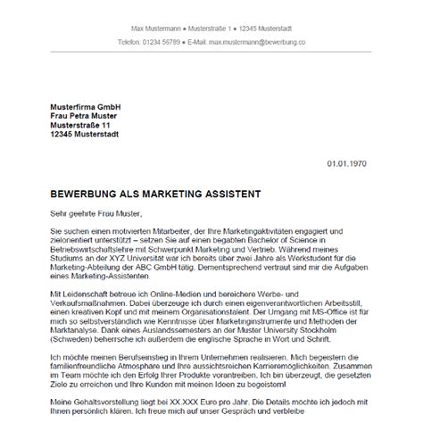 Anschreiben Vorlage Marketing Bewerbung Als Marketing Assistent Marketing Assistentin Bewerbung Co