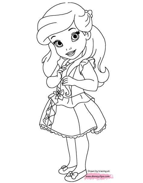 Disney Little Princesses Printable Coloring Pages Disney Baby Disney Princess Coloring Pages