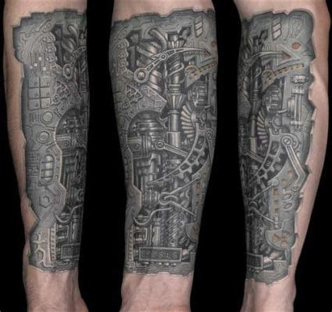 biomechanical heart tattoo designs black biomechanical on leg