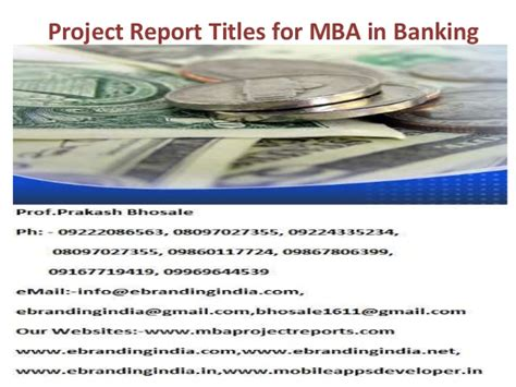 Use Mba In Title by Project Report Titles For Mba In Banking