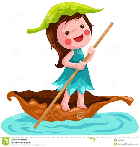 cartoon girl on boat litlle fairy sailing leaf boat royalty free stock photos