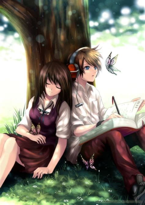 anime couple under a tree rest under tree by kazeo yuurin on deviantart