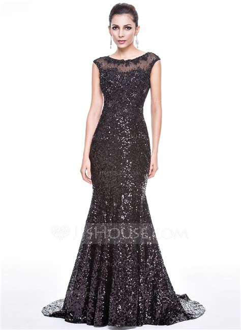 dress with beading trumpet mermaid scoop neck court sequined evening