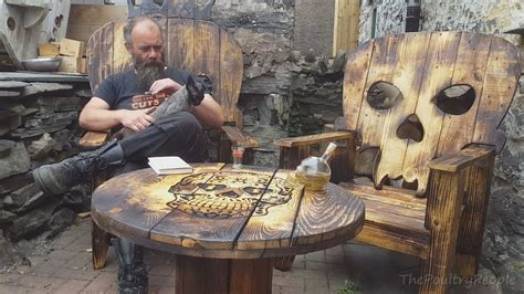 diy sugar skull table cable spool reel projects youtube