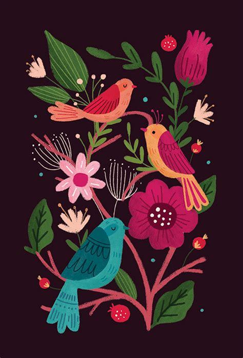 pattern bird art birds and butterflies folk art on behance