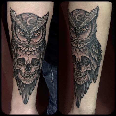 skull owl tattoo owl skull by juan david castro r 2015