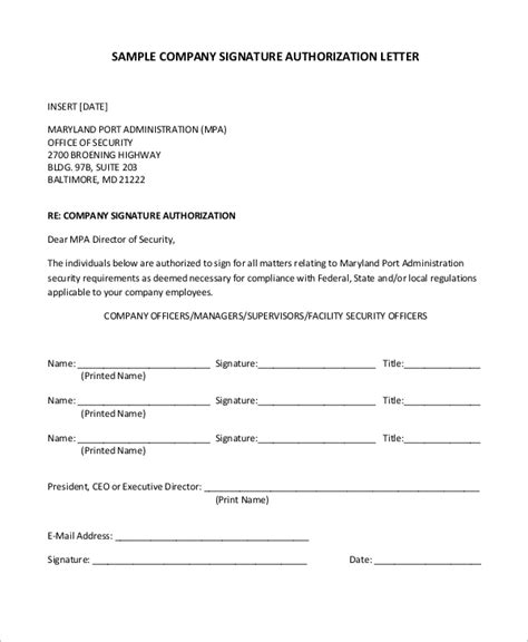 sample authorization letter templates ms word