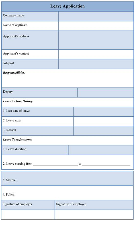 application template for leave exle of leave