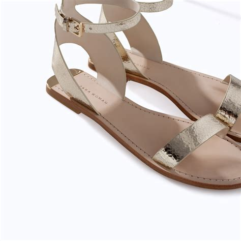 metallic sandal zara metallic leather sandal with ankle in gold lyst