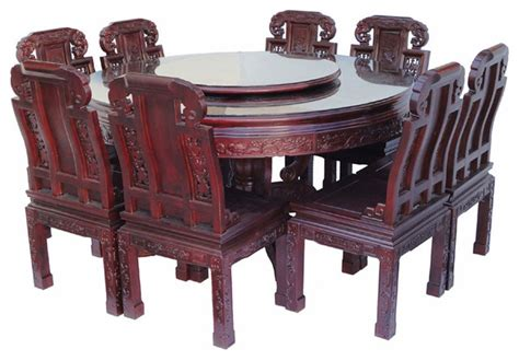 chinese dining room furniture chinese rose wood flower carving round dinning table set